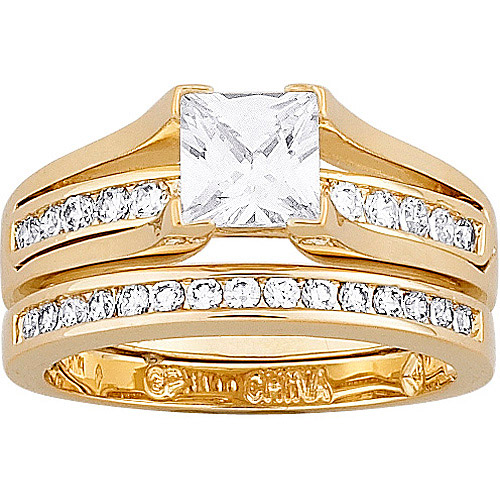 2.75 Carat T.G.W. Cubic Zirconia Gold Plated 2 piece Wedding Ring Set
