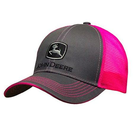 Ladies John Deere Hat / Cap (Neon Pink / Charcoal) - LP67036