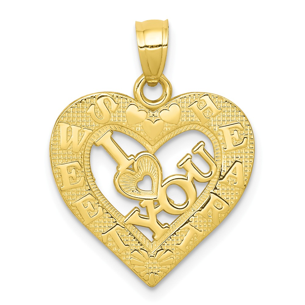 10k Yellow Gold I Love You Heart Charm (0.8in long x 0.7in wide)