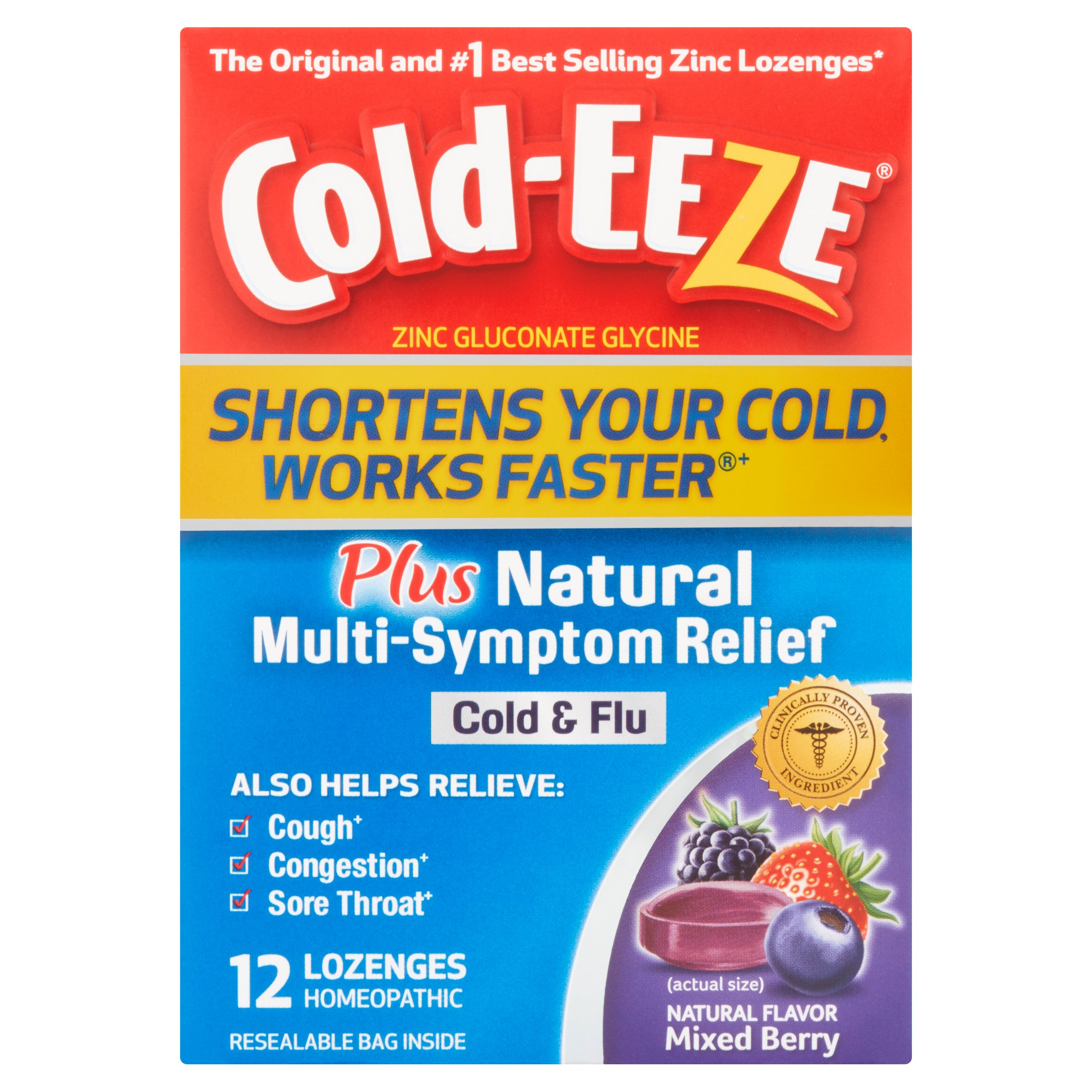 Cold-Eeze Mixed Berry Plus Natural Multi-Symptom Relief Cold & Flu Lozenges, 12 count