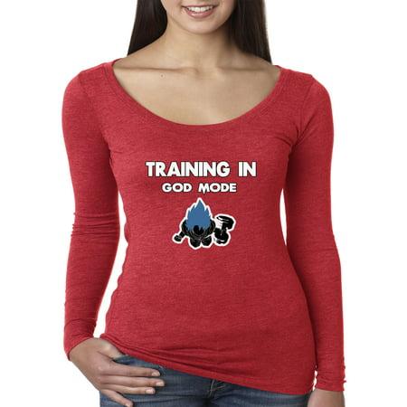 Trendy USA 610 - Women's Long Sleeve T-Shirt TRAINING IN GOD MODE DBZ GOKU BLUE Small Red