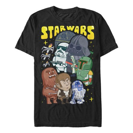Star Wars Cartoon Character Group Mens Graphic T Shirt