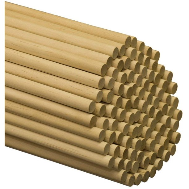 "Wooden Dowel Rods 1/2"" x 12"" Unfinished Hardwood Sticks -25  Pieces by Woodpeckers"