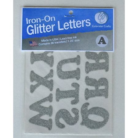 Iron On Letters: Silver Glittered, 1-1/4 inches, 36 pack - Letter I Crafts
