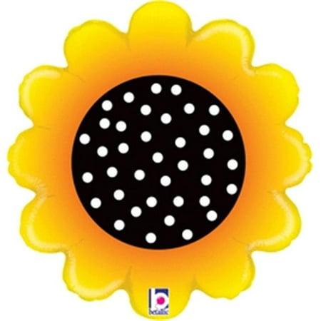 Betallic 87207 18 in. Sunny Sunflower Flat Balloon, Pack of 5 - Sunflower Balloon