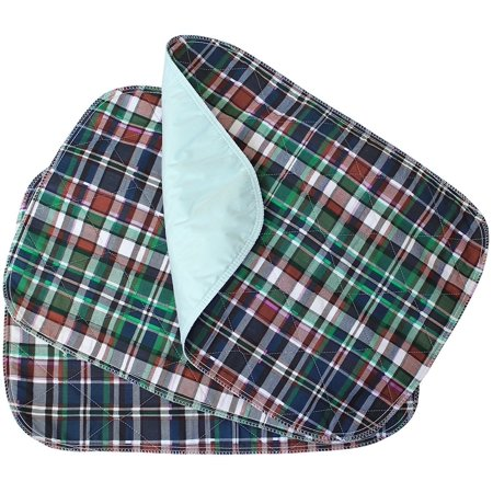 Platinum Care Pads 1 PACK - Plaid Small Washable Chair Pad Bed Pad / Small Reusable Incontinence Chair Underpad 17x24 - Perfect For Children And Adults Incontinence Protection