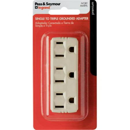 697IBPCC5 Triple Grounding Outlet Tap 2 Pole Ivory 15 Amp 125 Volt Qua
