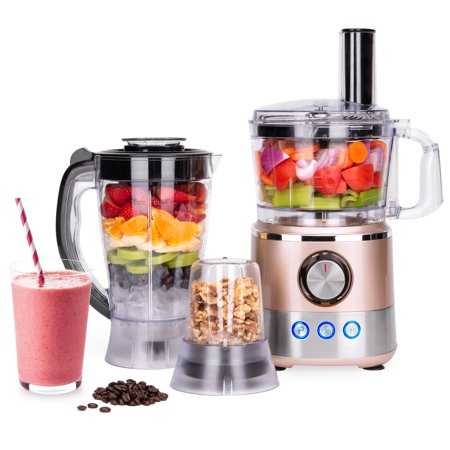 Best Choice Products 650W Multifunctional All-In-One Stainless Steel Food Processor, Blender, & Grinder Combo w/ 7.4-Cup Capacity, 10 Attachments for Juicing, Cutting, Shredding, & More - Rose Gold