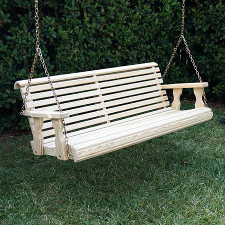 Amish Heavy Duty 800 Lb Roll Back Treated Porch Swing with Hanging Chains (4 Foot, - Unfinished Swing