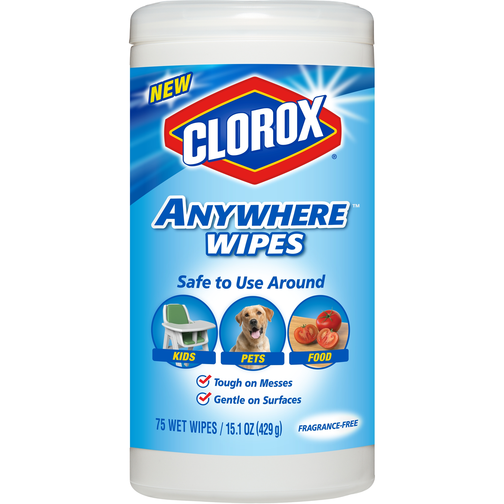 Clorox Anywhere Wipes, Bleach Free Cleaning Wipes - Fragrance-Free, 75 ct