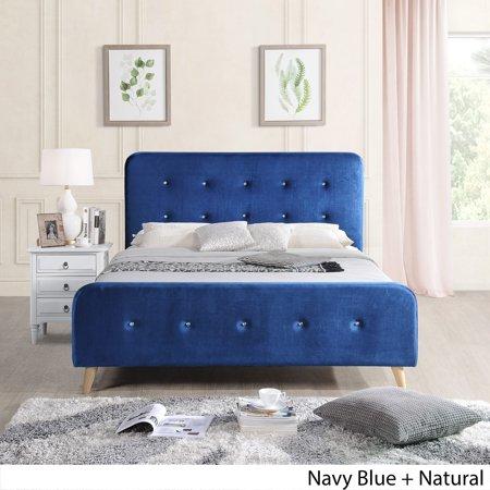 Christopher Knight Home Priya Mid Century Velvet Queen Platform Bed Frame by