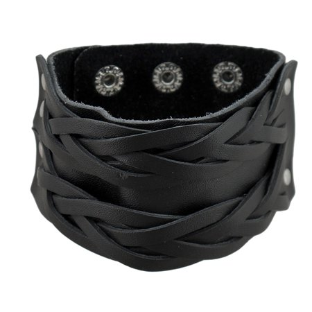 Double Braided Leather - Black Leather Double Row Braided Wristband Bracelet