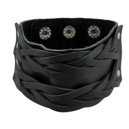Black Leather Double Row Braided Wristband Bracelet Double Row Oval Bracelet