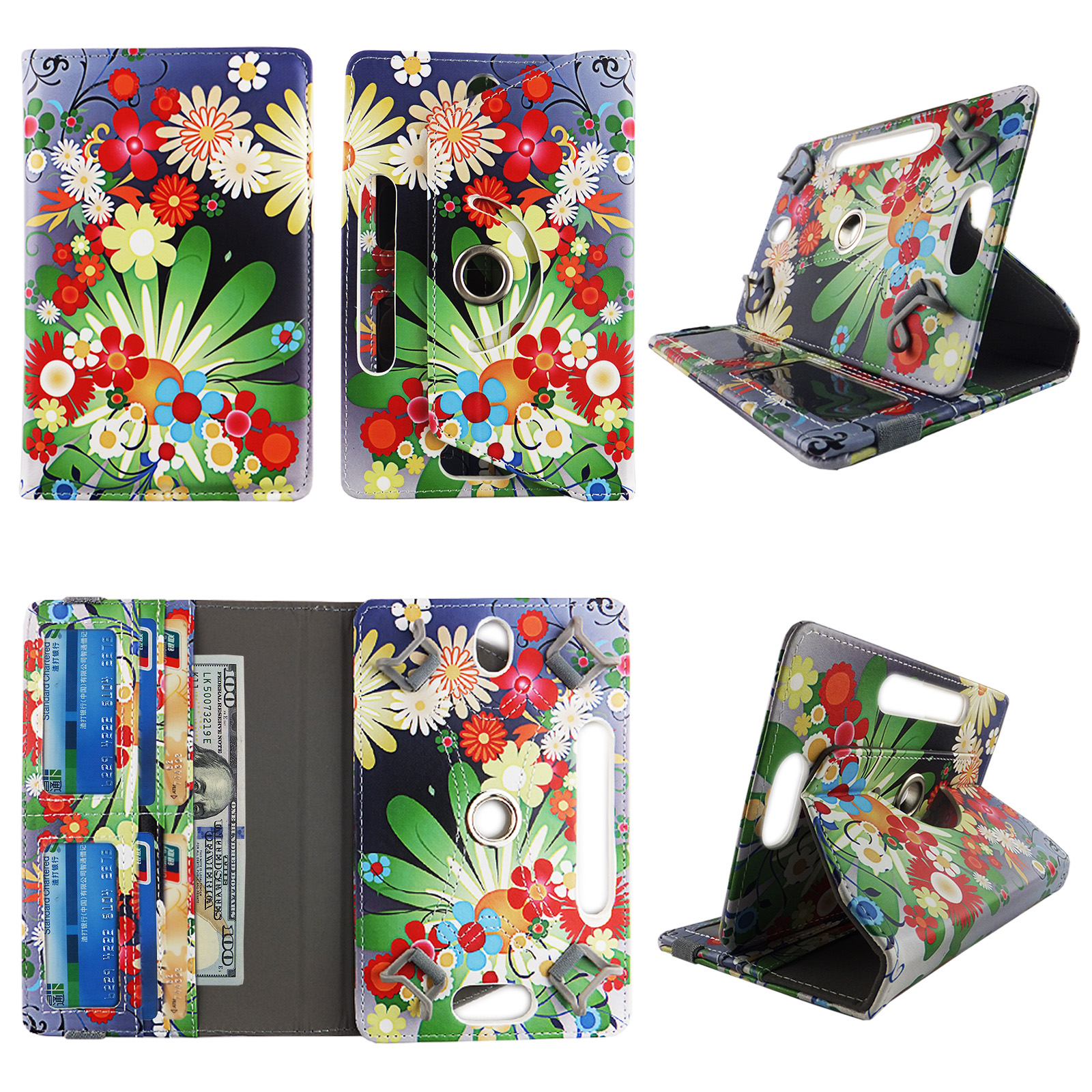 "Multi Flower tablet case 10 inch for Acer Iconia 10.1 10"" 10inch android tablet cases 360 rotating slim folio stand protector pu leather cover travel e-reader cash slots"