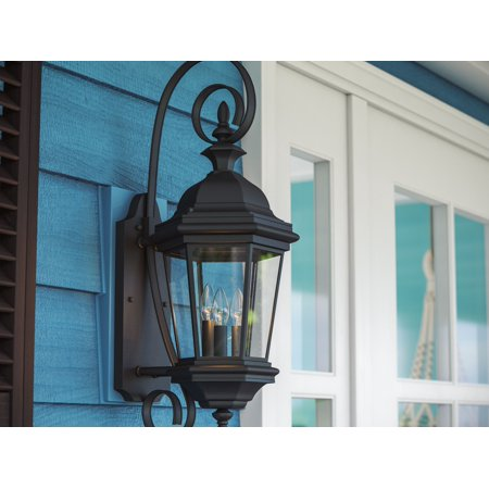Kenroy Home 1 Light Classic European Outdoor Wall Sconce, Black Finish, 28 Inch Height, Clear Glass Panels, Edison Bulb Compatible, Easy Installation Classic Black 1 Light