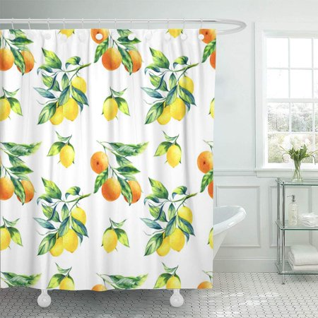 KSADK Watercolor Citrus Lemon and Orange Pattern on White Colorful Grove Leaf Agriculture Botanical Bathroom Shower Curtain 60x72 inch ()