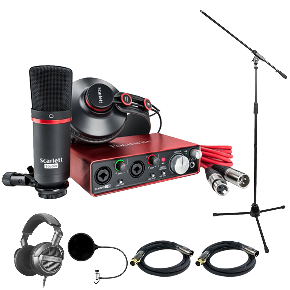 Focusrite Scarlett 2i2 Studio Pack & Recording Bundle - 2nd Gen with Headphone Bundle