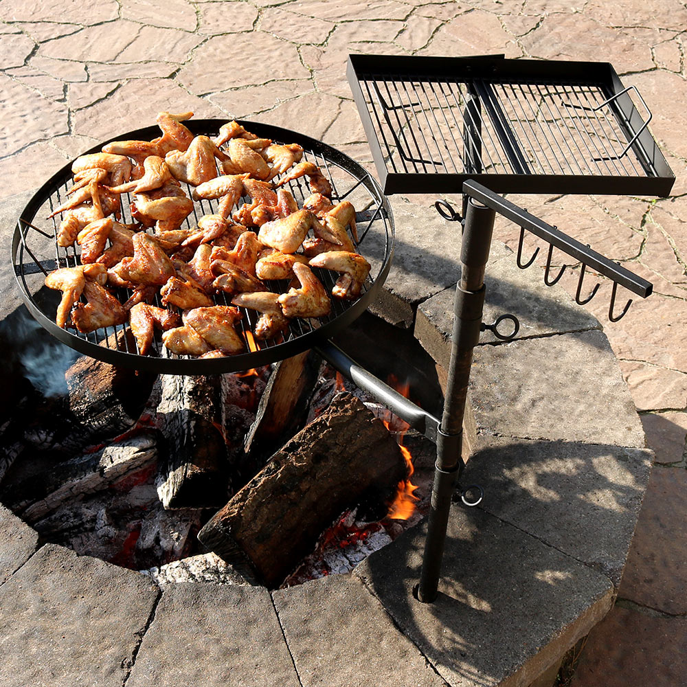 Sunnydaze Dual Campfire Cooking Grill Grate Swivel System, Outdoor Adjustable Fire Pit BBQ Grilling
