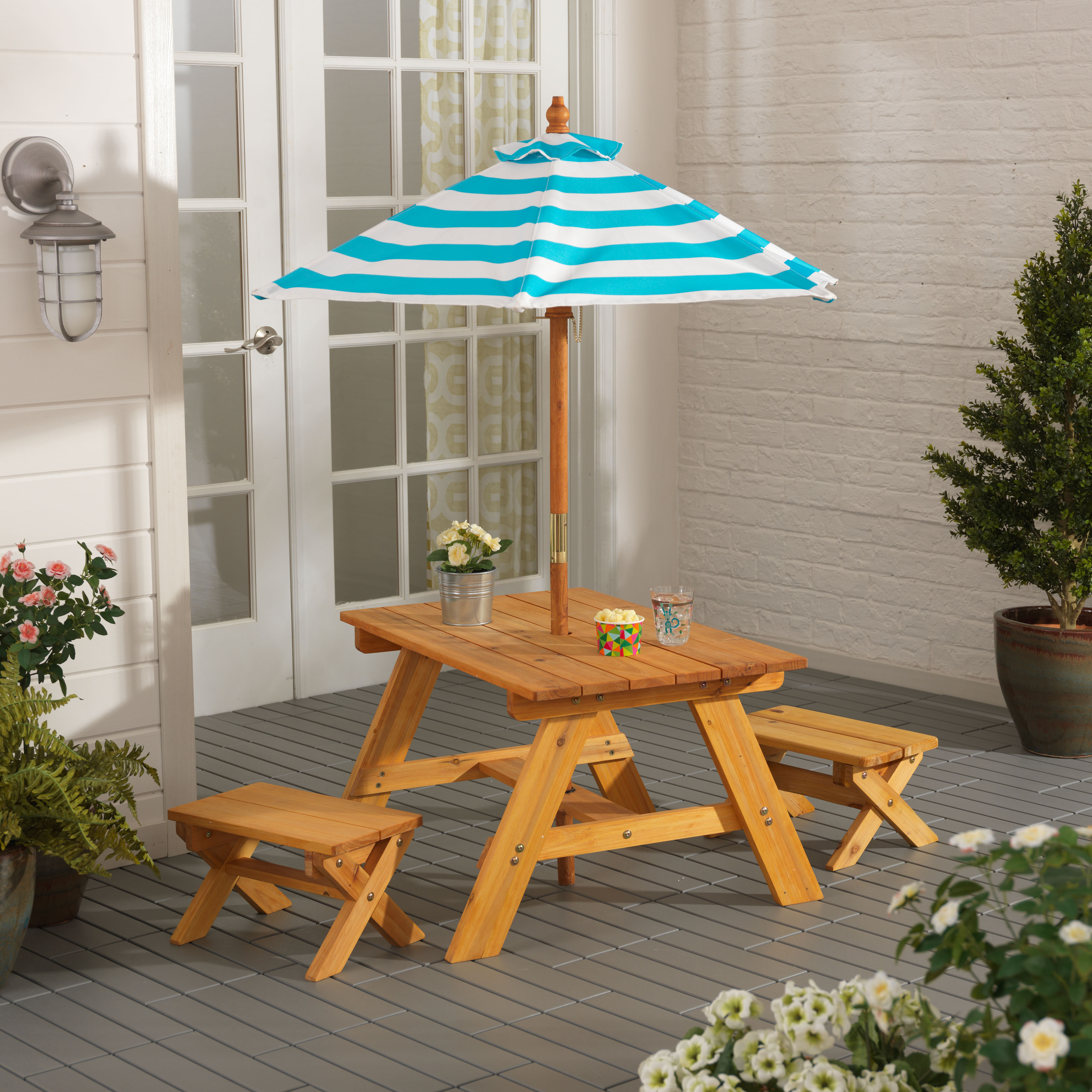 KidKraft Outdoor Table & Bench Set with Umbrella Turquoise & White by KidKraft