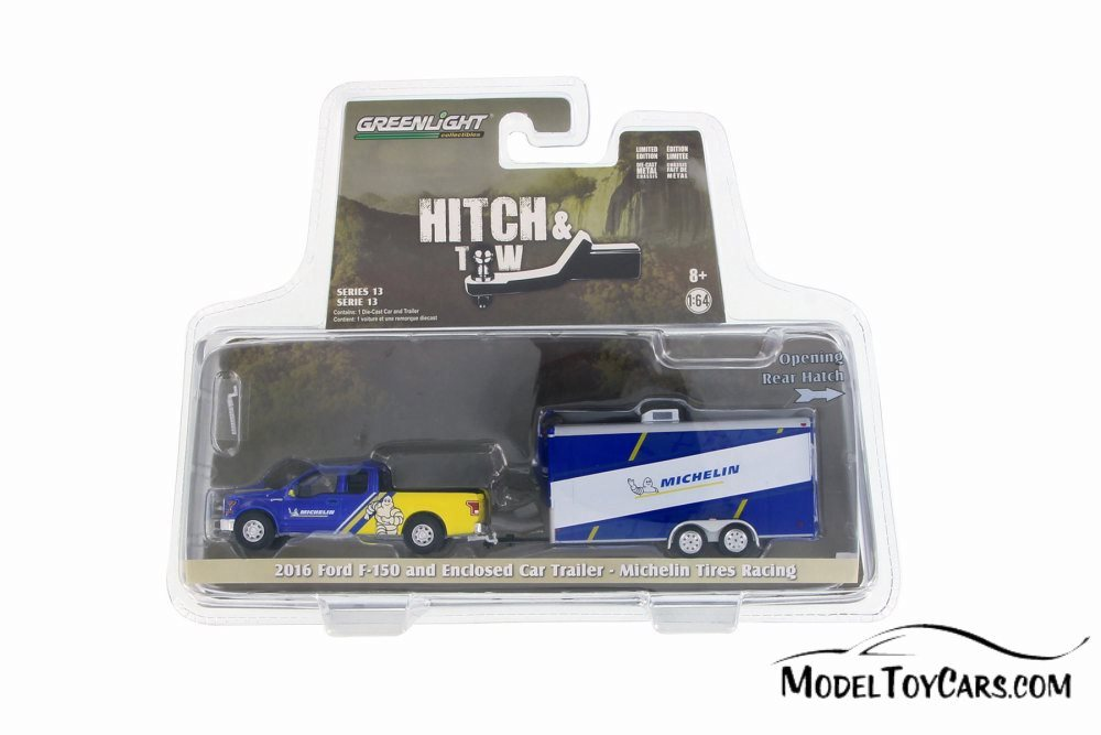 GREENLIGHT 32130 C 2016 FORD F-150 PICK UP /& TRAILER MICHELIN TIRES 1//64 BLUE