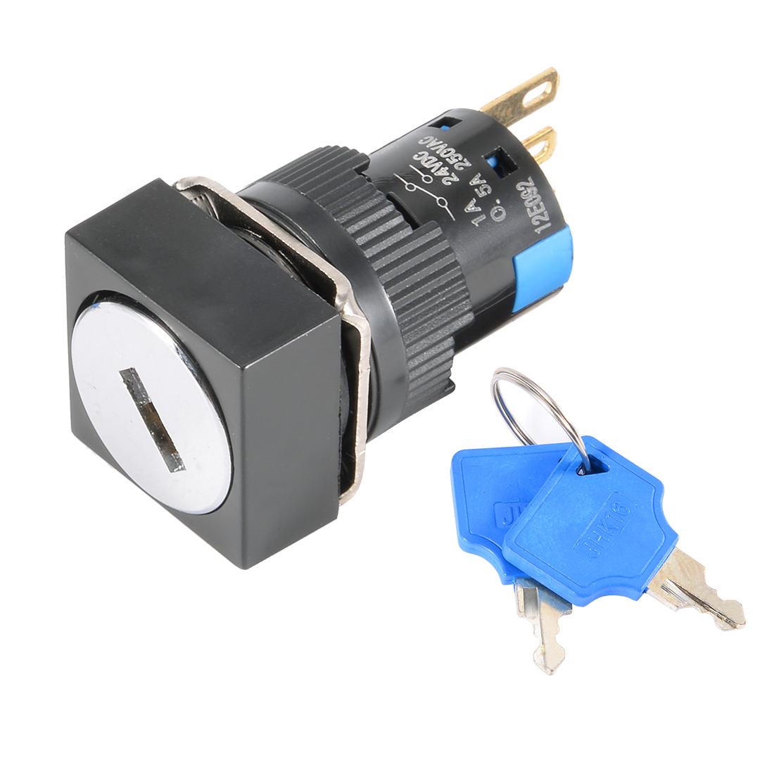 16mm Thread Square 2 Position Rotary Selector Key Lock Switch SPDT w ...