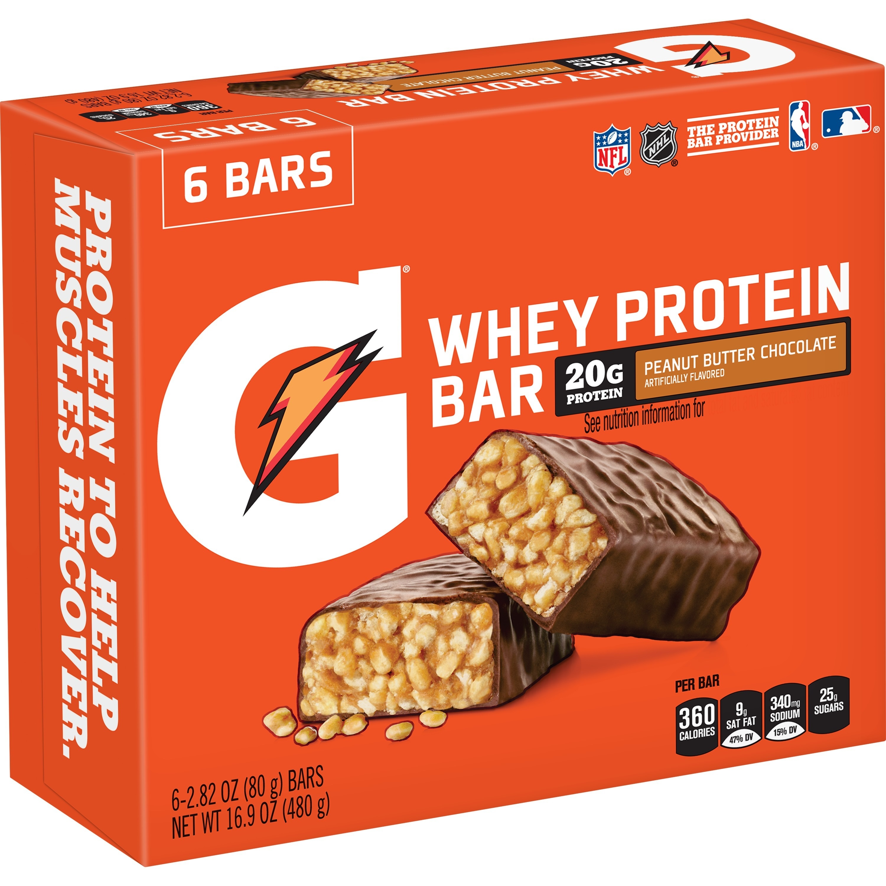 Gatorade Whey Protein Recover Bars, Peanut Butter Chocolate, 6 Ct