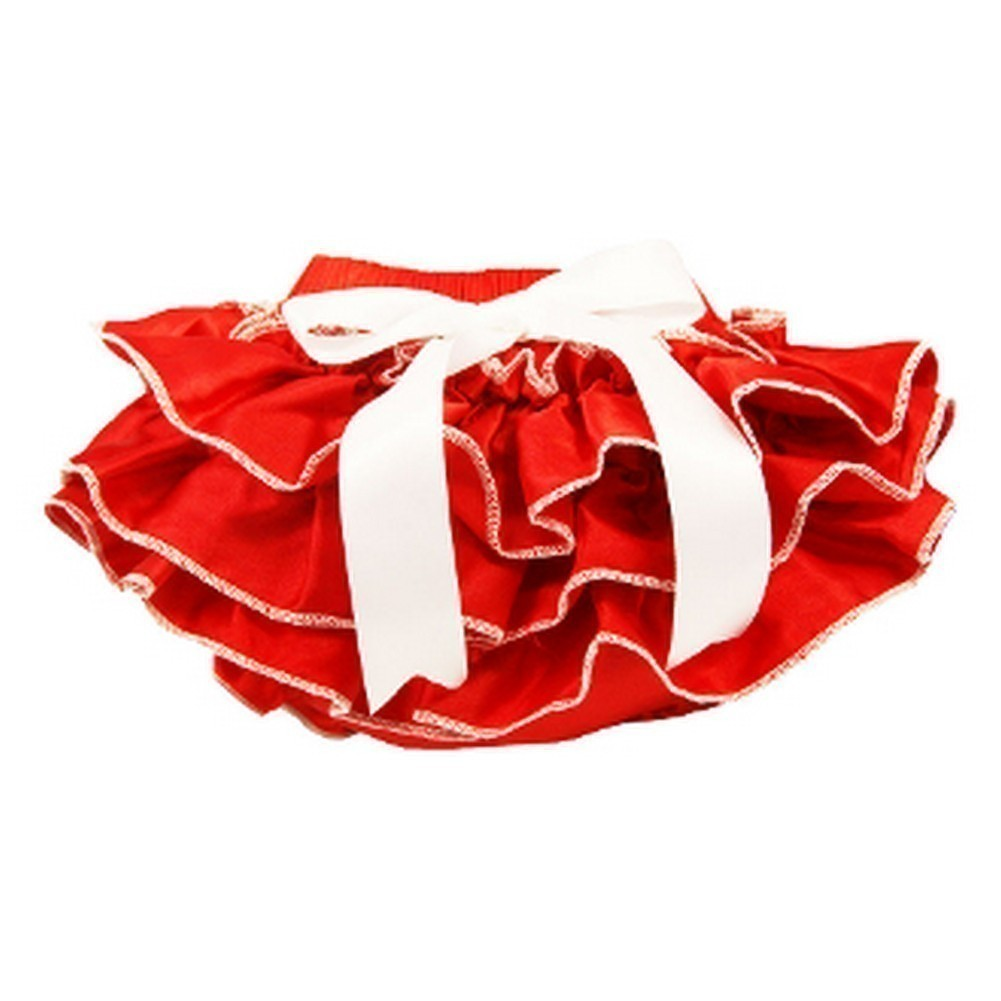 Baby Girls Red White Bow Ruffles Satin Bloomers 0-36 Months