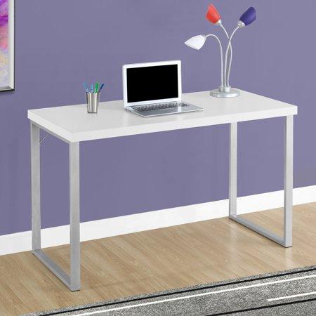 Monarch Computer Desk 48″L / White / Silver Metal