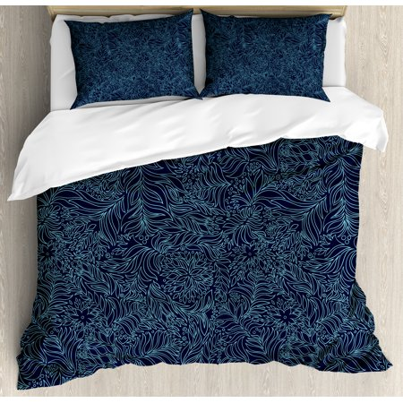 Navy and Teal King Size Duvet Cover Set, Abstract Artistic Flourish Nature Inspired Pattern Leaves Blossoms, Decorative 3 Piece Bedding Set with 2 Pillow Shams, Dark Blue Turquoise, by Ambesonne ()