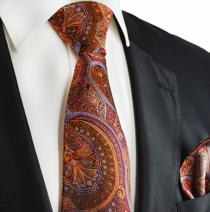 Paul Malone Extra Long Silk Necktie Pocket Square and Cufflinks Orange Black
