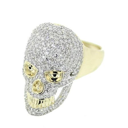 10K Gold Diamond Skull Ring Mens Fancy Fashion Ring 2.10ctw Round Diamonds 26mm Big Pinky Ring Diamond Fancy Mens Ring