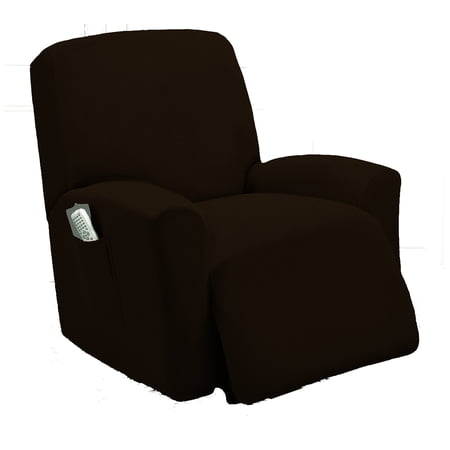 Golden Linens One piece Stretch Recliner Chair Furniture Slipcovers with Remote Pocket Fit most Recliner Chairs (Chocolate) ()