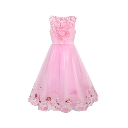 Flower Girls Dress Sequin Dimensional Flowers Pageant Party 4