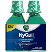Vicks NyQuil Cold & Flu Nighttime Relief Liquid, Twin Pack, Original Flavor 12 oz, 2 ea (Pack of 6)