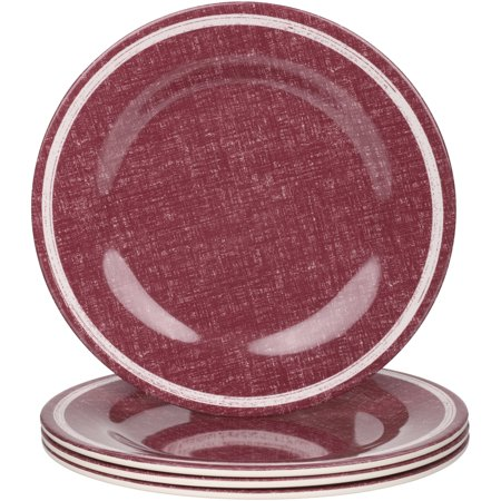 - Mainstays Outdoor Melamine Red Linen Dinner Plate, Set of 4