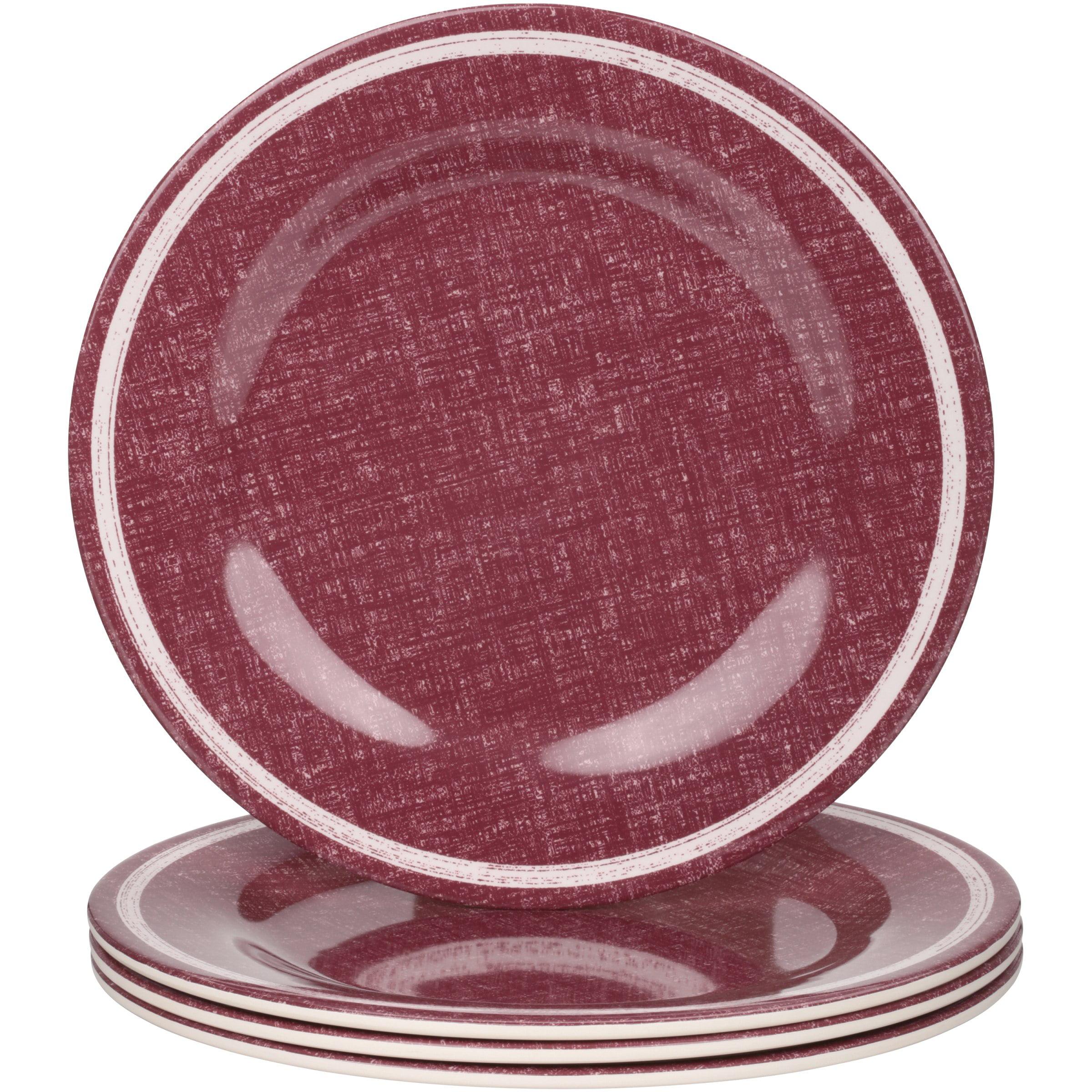 Mainstays Red Linen Melamine Dinner Plate, 4 Pack
