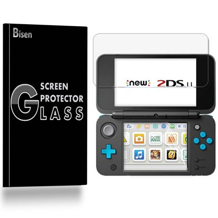 Nintendo 2DS XL (2017 Release) [BISEN] Screen Protector [Top Tempered Glass + Bottom PET Film], Anti-Scratch, Anti-Shock, Shatterproof, Bubble (Shock Top Glasses)