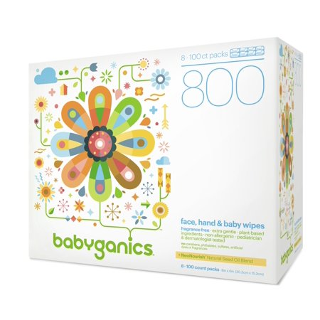 Babyganics Face Hand & Baby Wipes, Fragrance Free, 800 Ct