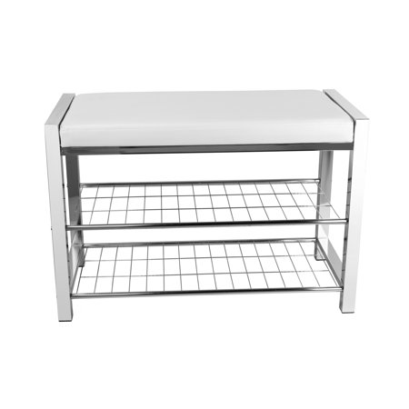 27 Surface Mount Bench (Danya B. White Leatherette Storage Entryway Bench with Chrome Frame )