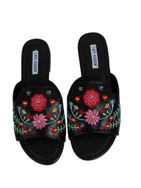 130d6ea0317 Product Image Cr Cape Robbin Women s Open Toe Faux Leather Flower  Embroidered Slip On Sandal