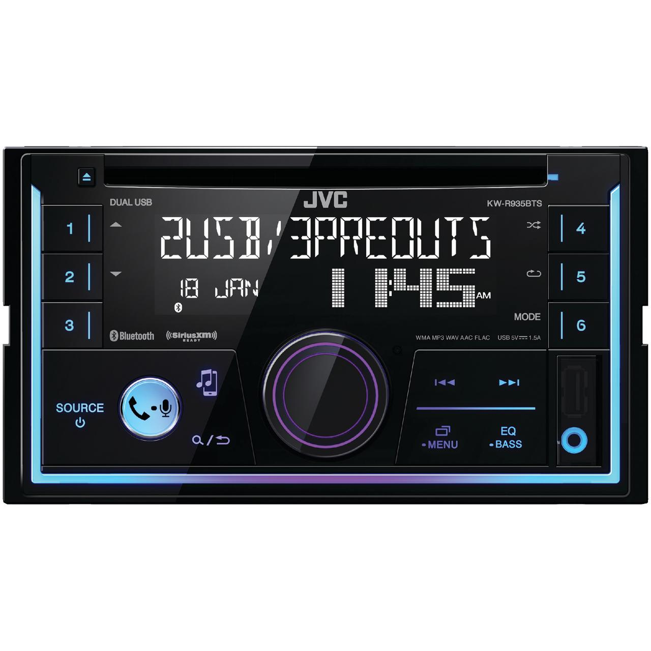 JVC Mobile KW-R935BTS KW-R935BTS Double-DIN In-Dash AM/FM CD Receiver with Bluetooth & SiriusXM Ready