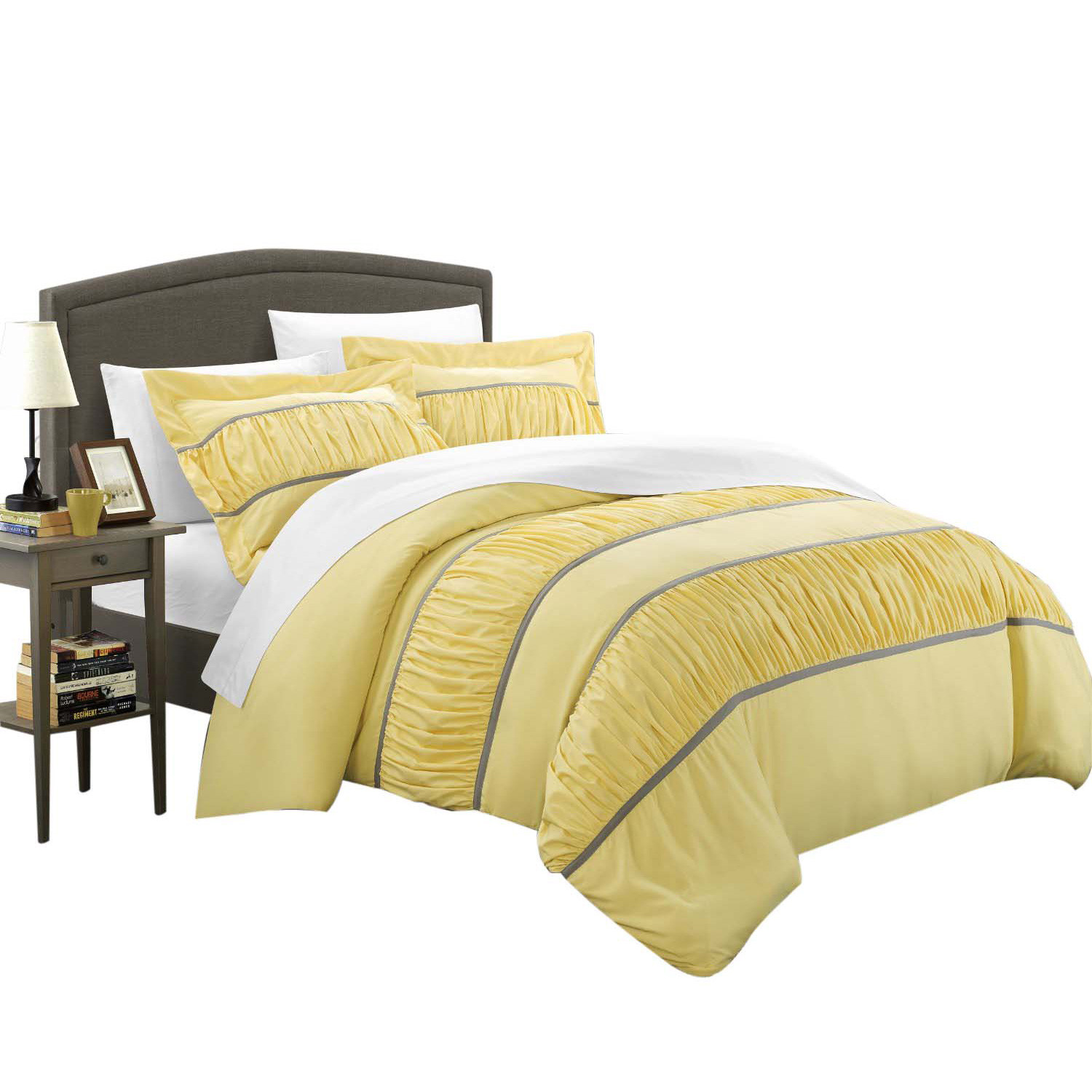 Besily Betsy 7 Piece Ruffled Duvet Cover with Sheet Set Yellow