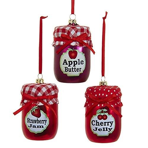 Fruit Jam Jar Glass Ornament, Red, 3-Inch, 3-Piece