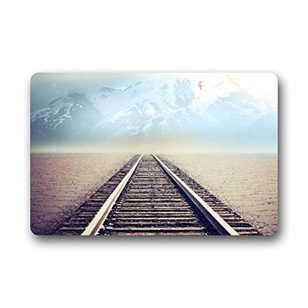 Winhome Beautiful Train Tracks Railroad Doormat Floor Mats Rugs Outdoors Indoor Size 23 6x15