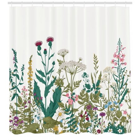 Spring Shower Curtain Wildflower Composition With Colorful Season Blooms Herbs And Folaige Leaves