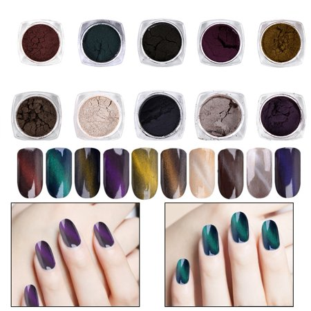 WALFRONT 10 Colors Cat Eye 3D Effect Magnet Shinning Powder Dust Mirror Chrome Glitter Nail Decoration, Nail Glitter Dust, Nail Art