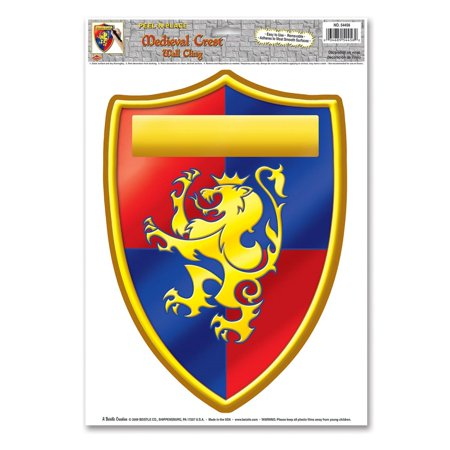 Club Pack of 12 Red, Blue and Yellow Medieval Crest Peel 'N Place Decorations 17