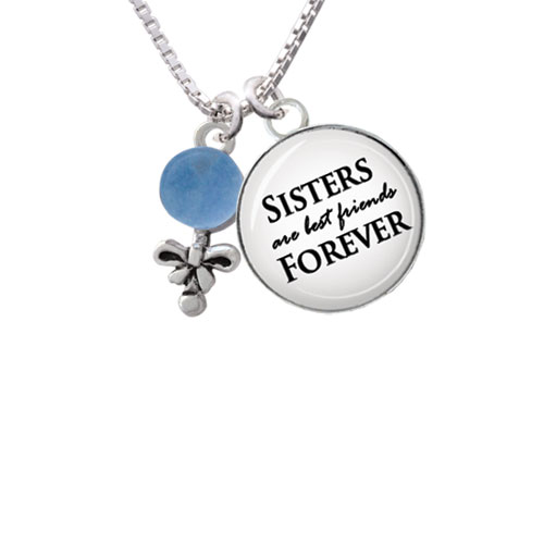 """Blue Baby Rattle Sisters are Best Friends Forever Glass Dome Necklace, 18""""+2"""""""