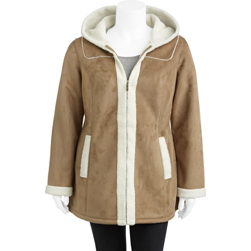 Faded Glory Women's Plus-Size Faux Shearling Coat