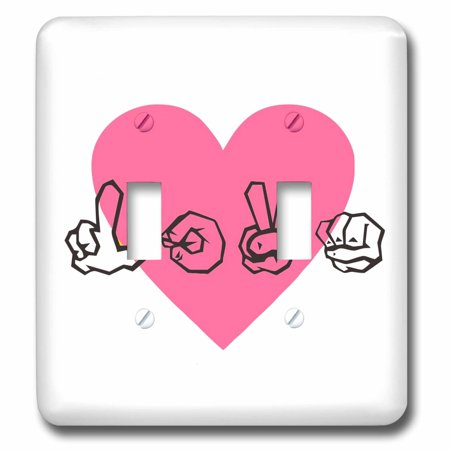 3dRose Sign Language Love With Pink Heart Double Toggle Switch lsp 234